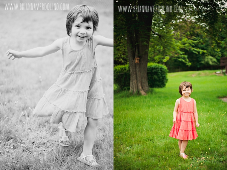 Little Girl Pixie Cut Orange Dress Outdoors Worcester Massachusetts Portrait Storytelling Family and Child photographer
