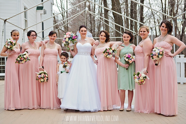 Sterling Massachusetts Wedding Photographer Chocksett Inn Pink Blush Gold Vintage Old Hollywood Wedding Bridesmaids Blush Pink Sage Green Pastel Flowers Bouquet