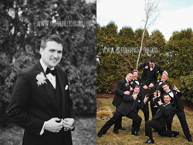 Sterling Massachusetts Wedding Photographer Chocksett Inn Pink Blush Gold Vintage Old Hollywood Wedding Groom Groomsmen Best Man Fun Group Shot