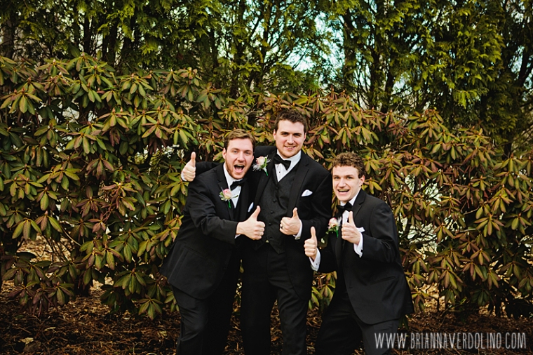 Sterling Massachusetts Wedding Photographer Chocksett Inn Pink Blush Gold Vintage Old Hollywood Wedding Groom Groomsmen Brothers Thumbs Up Fun Portrait
