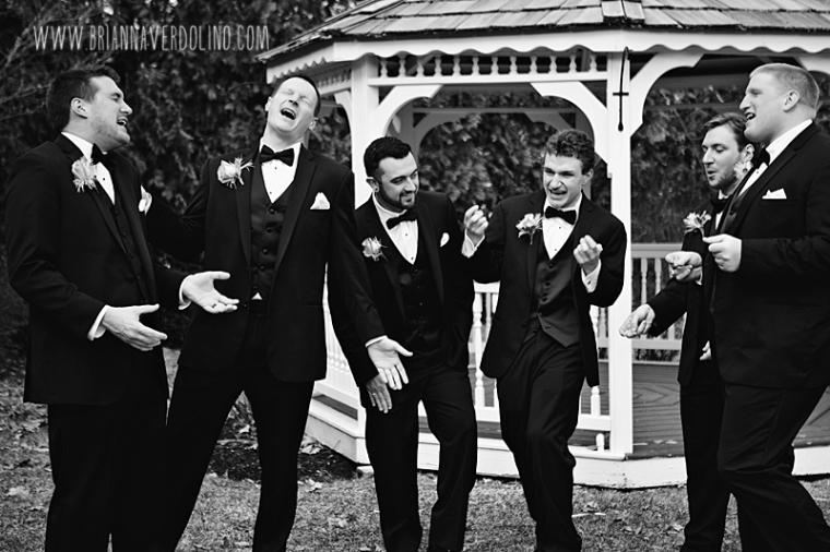 Sterling Massachusetts Wedding Photographer Chocksett Inn Pink Blush Gold Vintage Old Hollywood Wedding Groom Groomsmen Singing Fun Black and White Portrait