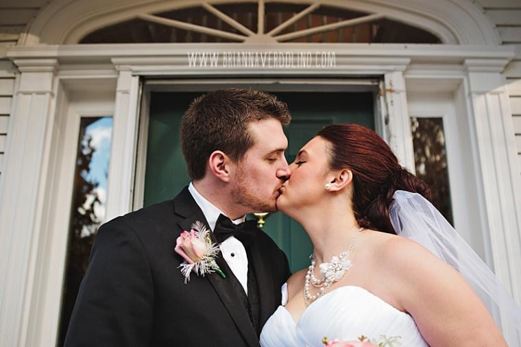 Sterling Massachusetts Wedding Photographer Chocksett Inn Pink Blush Gold Vintage Old Hollywood Wedding Bride Groom Portrait Kiss Romantic