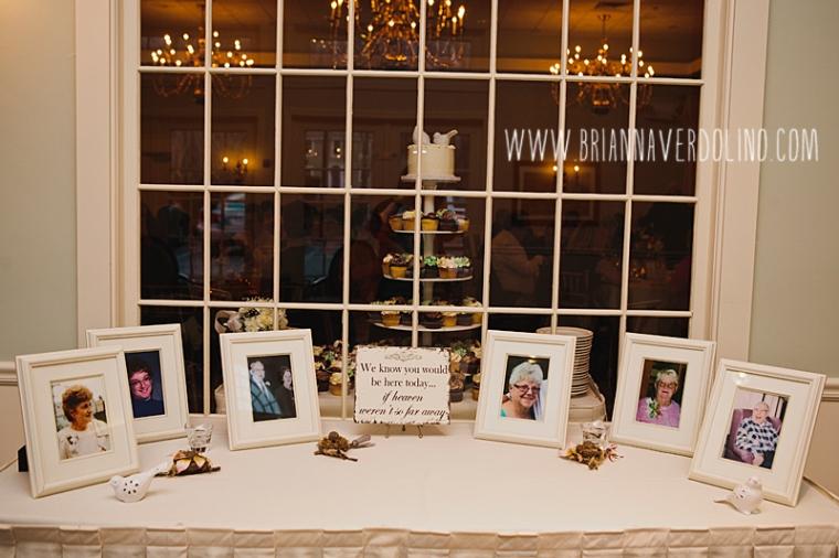 Sterling Massachusetts Wedding Photographer Chocksett Inn Pink Blush Gold Vintage Old Hollywood Wedding Memorial Table Framed Photos