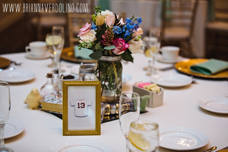 Sterling Massachusetts Wedding Photographer Chocksett Inn Pink Blush Gold Vintage Old Hollywood Wedding Centerpieces Flowers Red Sox Table Numbers Mason Jar