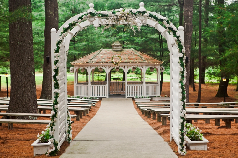 Arrowhead Acres, Teal and Purple, Wedding, Summer, Bridge, Gazebo, Camp